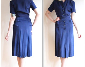 1940s Dress // Bright Navy Rayon Dress // vintage 40s dress