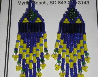 Blue/Yellow/Green Beaded Earrings