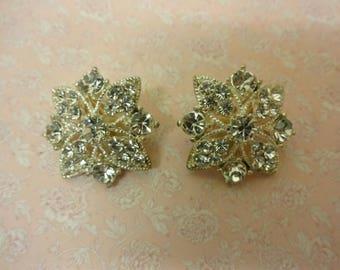 Vintage Crystal Earrings, Diamante Clip on Earrings, Diamante Earrings, Crystal Clip ons, Statement Diamante Earrings, Rhinestone Earrings