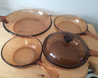 Vintage Corning Visions Visionware Glass Cookware, Saucepan, Skillets, Brown Amber 5 Piece Set, Mid Century, Corning Ware Pyrex Cookware
