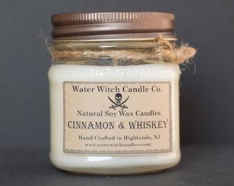 Cinnamon & Whiskey booze scented soy wax candle in 8oz. Mason Jar