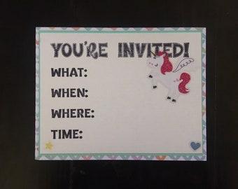 Unicorn Birthday Party Invitations Set of 10