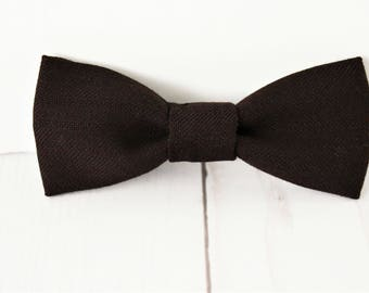Model Armand, bow tie clip, baby boy bowtie clip on, recycled, recycled, dark brown, fabric lined, fabric boy 1 - 10 years