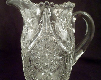 Large Vintage Molded Glass Pitcher with Applied Handle, Just Under 5 Lbs