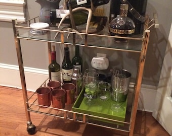 SOLD - Vintage Brass Bar Cart / Hollywood Regency / Serving Cart / Local pick up in DC ONLY