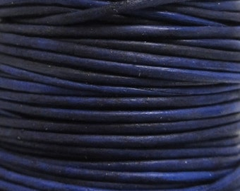 2 Yards - 1mm Naturaly Dyed Violet Leather Cord