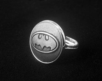 Silver Batman Ring -Super Hero Ring -Adjustable Personalized Ring -Gift for Her