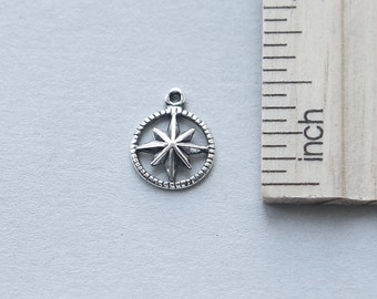 925 Sterling Silver Charm, Compass Charm, Starburst Compass Charm, Sterling Silver Compass Charm, Tiny Compass Charm, 11mm ( 1 piece )