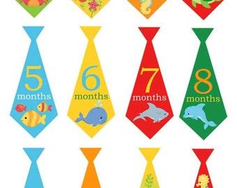 Sea ties - 019- Sea animals monthly baby boy tie decals