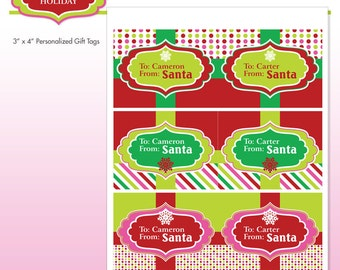 Printable Santa Gift Tags - Customized With Name - Personalized - DIY Printable Package - Sugar Coated Holiday - Do-it-Yourself Print Kit