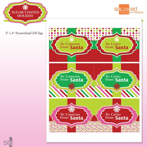 Printable santa gift tags customized with name like this item solutioingenieria Images