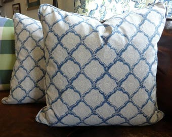Pair Kravet Indigo Woodblock Pillow Cover/ 20x20/Toss Pillow Designer Pillow Decorative Pillow/ Kravet Pillow/ Piped Pillow