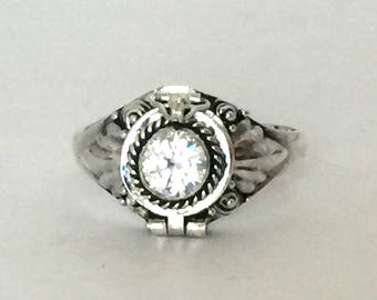 Small Poison Ring Bali Sterling Silver Locket Ring with clear quartz (sub for diamond) April birthstone AR11