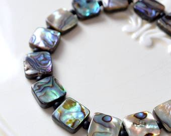 Real Abalone Bracelet, Stretch, Sterling Silver, Summer, Beach, Genuine Paua Shell Jewelry