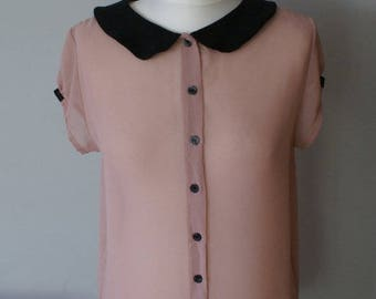 Powder pink Peter Pan collar blouse with buttons, Retro Pink blouse, Summer blouse, Charming blouse