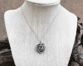 Silver Rose Bud Necklace, Sterling Silver, Wire Rose