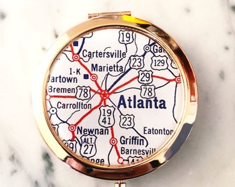 Atlanta Mirror Compact - Rose Gold - Compact Mirror - Makeup Mirror - Purse Mirror - Bridesmaid Gift - Bridesmaid Proposal