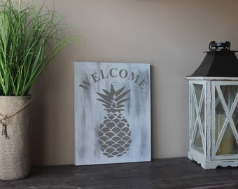 Pineapple Welcome Sign Hand Painted Wood- Approx. 11 x 14 inches - Art, Wedding, Home Decor, Interior Design, Distressed, Shabby Chic