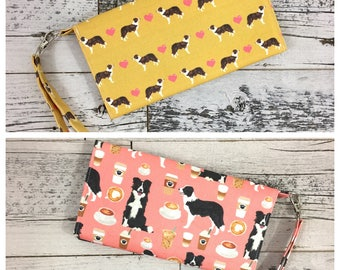 BORDER COLLIE, Border Collie Gifts, Wristlet, iPhone Wristlet, Phone Wristlet, Galaxy Wristlet, Clutch Purse, Dog Bag, Phone Case, Dog Mom