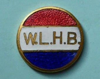 Womens League of Health & Beauty, W.L.H.B. button, vintage.  Basse taille enamel - red, white and blue, metal loop shank. c1930's.