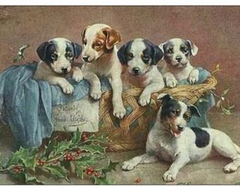 Vintage Puppy Basket Magnet