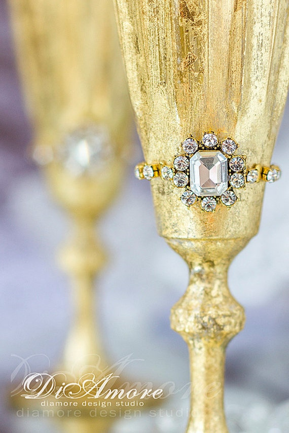 Gold Queen Personalized Wedding Set Champagne Flutes Crystal