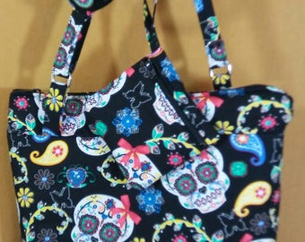 Paisley Candy Skulls Crossbody bag and coin pouch