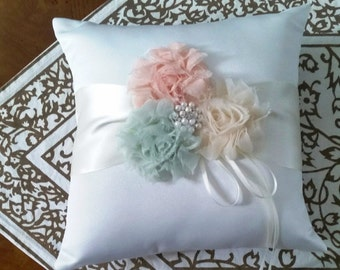 Ring bearer pillow, bridal pillow, tuille flowers, ring pillow, wedding pillow, wedding ring pillow, ring pillow, ring bearer pillow