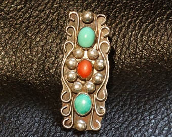 Vintage Statement Ring Turquoise Coral Sterling Silver Handmade Signed 14.1 Grams