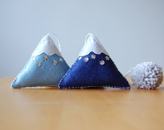 Mountains in the Snow - Set of Two Handmade Ornaments / Room Decoration
