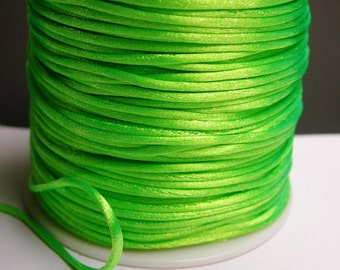 Satin Rattail Cord - knotting/beading cord -1.5mm - 65 meter - 213 foot - Vivid Lime green - SSC1