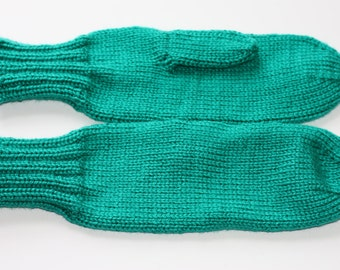 Knit Adult Mittens - Cool Green Mittens for Women - Emerald Green Ladies Mittens - Cool Green Mittens for Adults - Winter Mittens