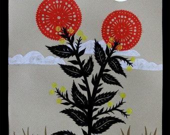 Desert Rose - 11 x 14 inch Cut Paper Art Print
