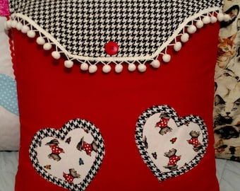 Valentine's Day Pillow Cover Houndstooth Scottie Hearts