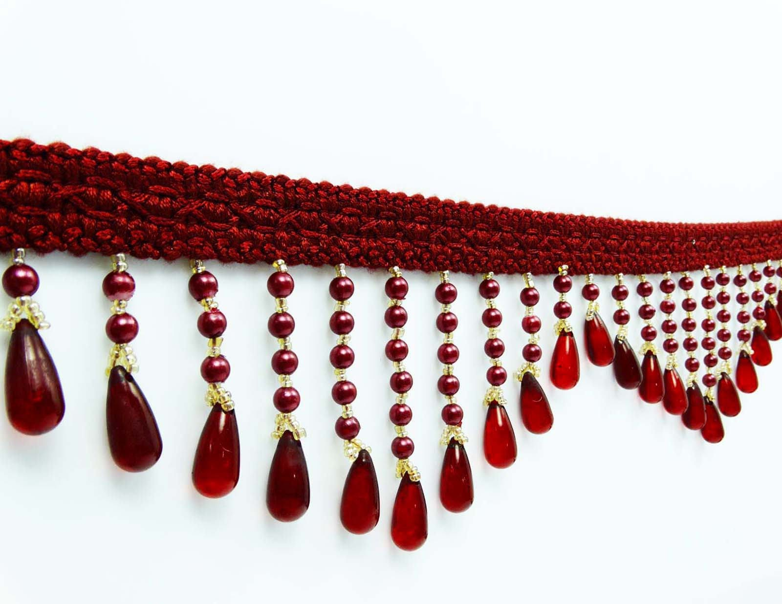 Maroon Beaded Fringe Trim Indian Home Decor Sewing Curtain