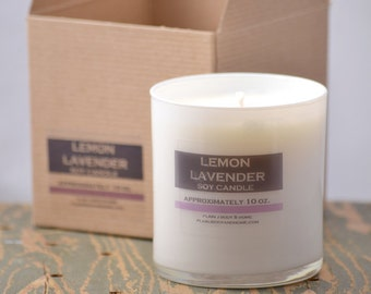 Lemon Lavender Soy Candle White Glass Tumbler 10oz - lemon candle - lavender candle - lemon lavender - fresh scent candle - womens candle