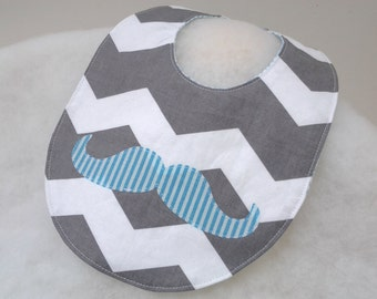 Blue Mustache Baby Bib on Gray and White Chevron with Blue on Reverse