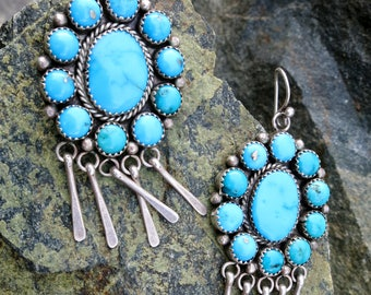 """STUNNING ZUNI CLUSTER Dangles, 2 3/4"""" Earrings, Morenci Turquoise, Sterling"""