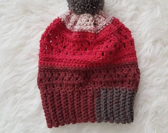 Sale - Adult Slouchy Pom Pom Toque - Red, Gray, Heathered Red   CLEARANCE