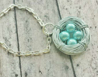 birds nest necklace, mothers necklace, mother gift from daughter, four egg nest, birthstone necklace, momma bird, mom necklace, mothers day
