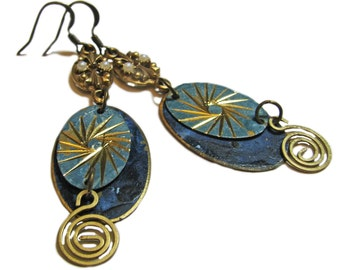 One of a Kind Hand Crafted Blue Vintage Reboot Earrings By SoniaMcD