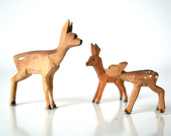 Miniature wooden deer - German hand carved and painted Christmas decoration