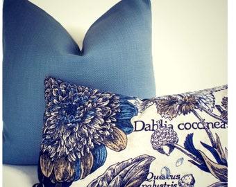Blue Pillow Cover / Solid Blue Pillow / P Kaufmann Slubby Basket Sailor Blue Designer Pillow Cover 0