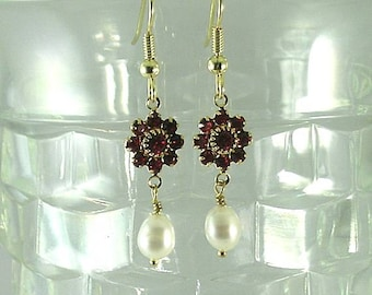 Freshwater Pearls and Ruby Swarovski Crystal Earrings
