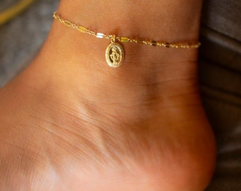 Madonna Charm Gold Anklet / Miraculous Medal Virgin Mary Ankle Bracelet