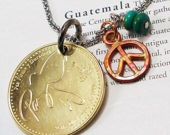 Guatemala, Authentic Coin Necklace --- Paloma de la Paz --- Peace Dove - Peace on Earth - Be a Traveler - World Treasures - Peace Day