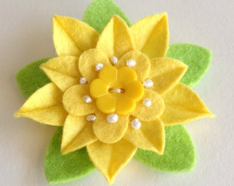 Sunny Yellow Felt Flower Pin with Yellow Vintage Flower Button - Handmade Boutonniere