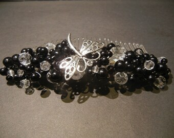 Large Bridal Hair Comb. Black Glass Pearls & Faceted Crystals featuring a Dragonfly. Bridal Headpiece. Prom Night.