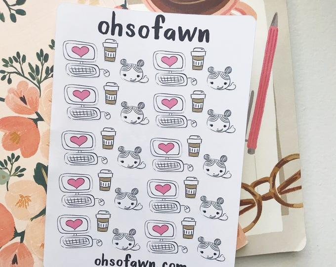 Blogging Hand Drawn Stickers