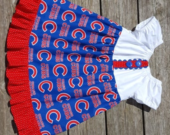 Girl's Toddlers Chicago Cubs Baseball Ruffle Peasant Dress